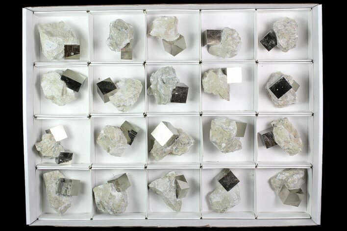Wholesale Flat: Natural, Pyrite Cubes In Rock From Spain  - 20 Pieces