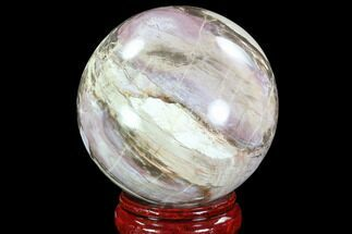 "4.7"" Pastel Colored Petrified Wood Sphere - Madagascar For Sale, #92987"