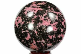 "4.8"" Polished Rhodonite Sphere - Madagascar For Sale, #96200"