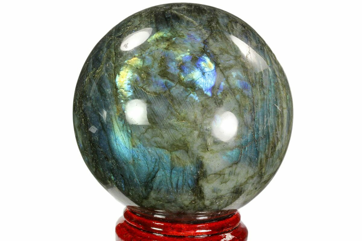 "5"" Flashy, Polished Labradorite Sphere - Great Color Play"