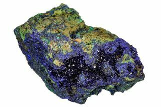 "2"" Sparkling Azurite Crystals With Malachite - Laos For Sale, #107186"