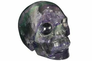 "4.9"" Colorful, Banded (Rainbow) Fluorite Skull For Sale, #110102"