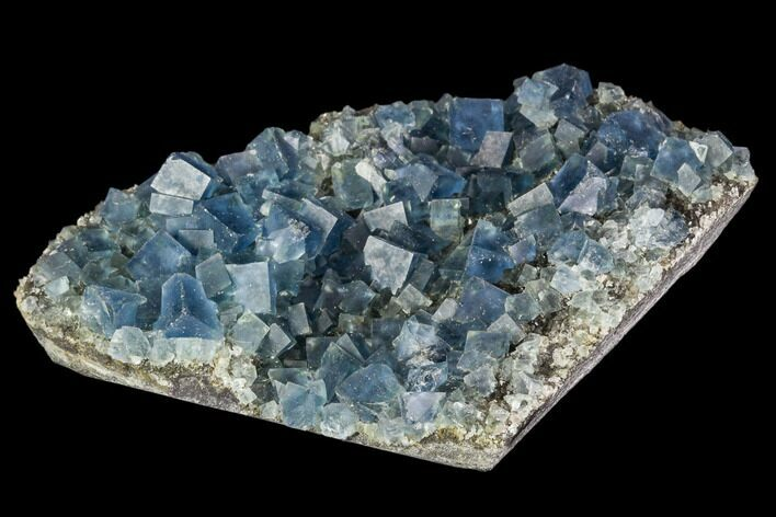 "3.4"" Blue Cubic Fluorite on Quartz - China"