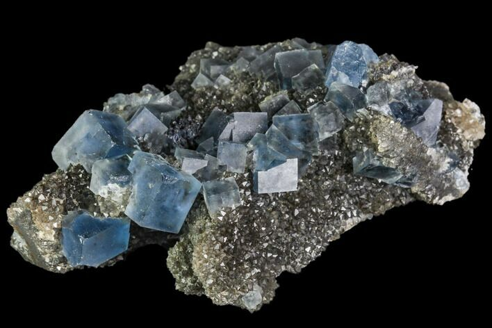 "2.7"" Blue Cubic Fluorite on Quartz - China"