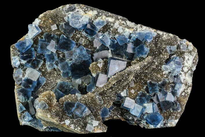 "5.2"" Blue Cubic Fluorite on Quartz - China"