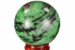 "2"" Polished Ruby Zoisite Sphere - Tanzania For Sale, #112508"