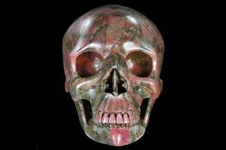 "Buy 7.3"" Realistic, Carved Rhodonite Skull - Madagascar - #116512"