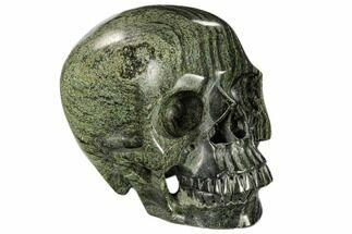 "5.9"" Realistic, Polished Green Zebra Jasper Skull  For Sale, #116516"