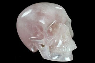 "6"" Realistic, Polished Brazilian Rose Quartz Crystal Skull For Sale, #116423"