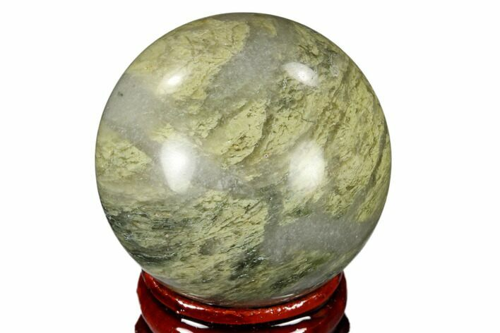 "1.6"" Polished Green Hair Jasper Sphere - China"