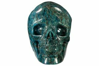 "5.9"" Polished, Bright Blue Apatite Skull - Madagascar For Sale, #118094"