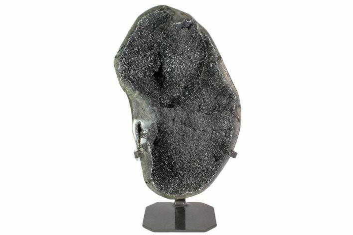 "15.6"" Sparkling, Silvery, Amethyst Geode With Metal Stand"