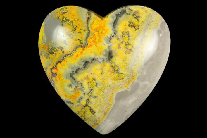 "3.1"" Polished Bumblebee Jasper Heart - Indonesia"