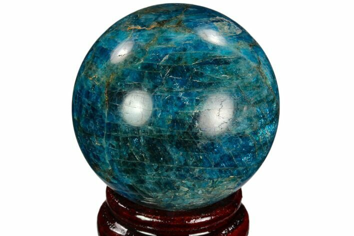 "2.1"" Bright Blue Apatite Sphere - Madagascar"
