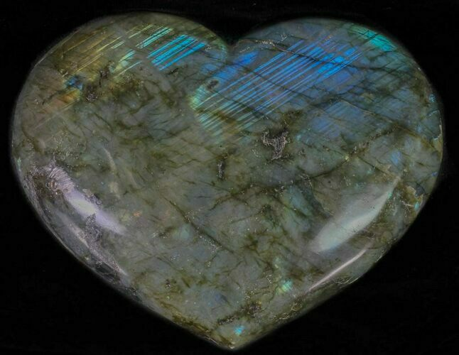 "4.4"" Flashy Polished Labradorite Heart"