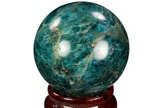"2.05"" Bright Blue Apatite Sphere - Madagascar For Sale, #121811"