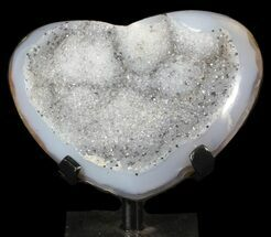 "Buy 4.3"" Polished, Agate Heart Filled with Druzy Quartz - Uruguay - #62824"