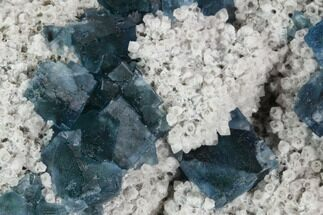 "3.3"" Cubic, Blue-Green Fluorite Crystals on Quartz - China For Sale, #128930"