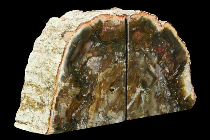 "4.8"" Tall, Colorful Petrified Wood Bookends - Madagascar"