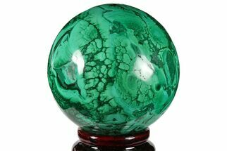 "2.5"" Flowery, Polished Malachite Sphere - Congo For Sale, #131816"