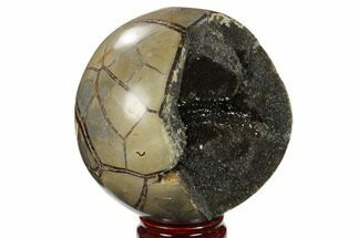 "5"" Polished Septarian Geode Sphere - Madagascar For Sale, #134432"