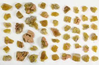"Lot: .75 to 1.5"" Yellow Fluorite Crystals - 55 Pieces For Sale, #138125"