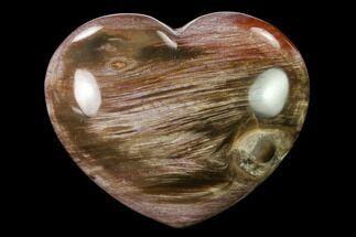 "3.6"" Polished Triassic Petrified Wood Heart - Madagascar For Sale, #139973"
