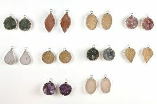 Buy Lot: Druzy Quartz Pendants/Earrings - 10 Pairs - #140833