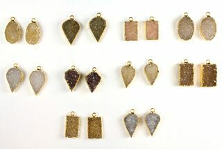 Lot: Druzy Quartz Pendants/Earrings - 10 Pairs For Sale, #140834