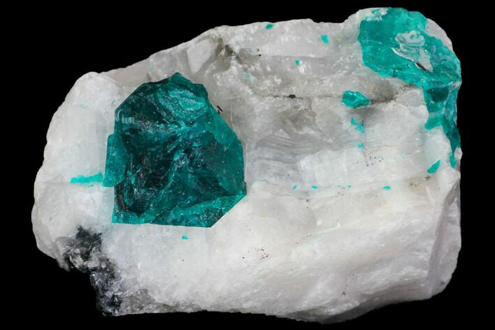 "1.5"" Dioptase and Calcite Association - Tantara Mine, Congo"