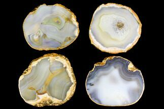 Four Polished Brazilian Agate Coasters - Gold Electroplated Edges For Sale, #147791