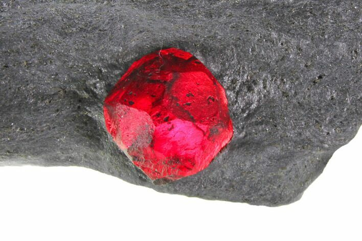 "2"" Plate of Two Red Embers Garnet in Graphite - Massachusetts"