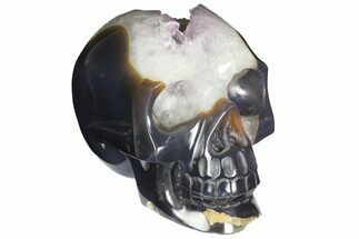 "6.6"" Polished Banded Agate Skull with Amethyst Crystal Pocket  For Sale, #148127"