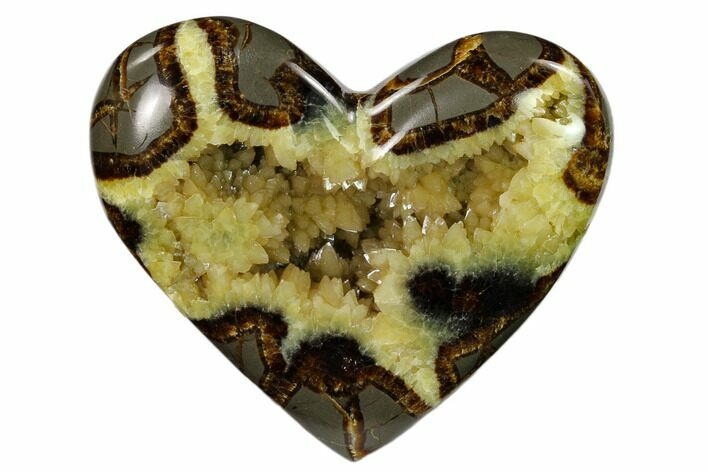 "4.3"" Polished Utah Septarian Heart - Beautiful Crystals"