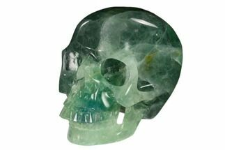 "Buy 5.9"" Realistic, Carved Green Fluorite Skull - Fluorescent! - #150907"
