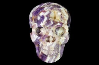 "3"" Realistic, Carved Chevron Amethyst Skull  For Sale, #150974"