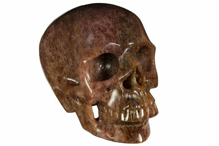 "6.9"" Realistic, Carved Strawberry Quartz Crystal Skull"