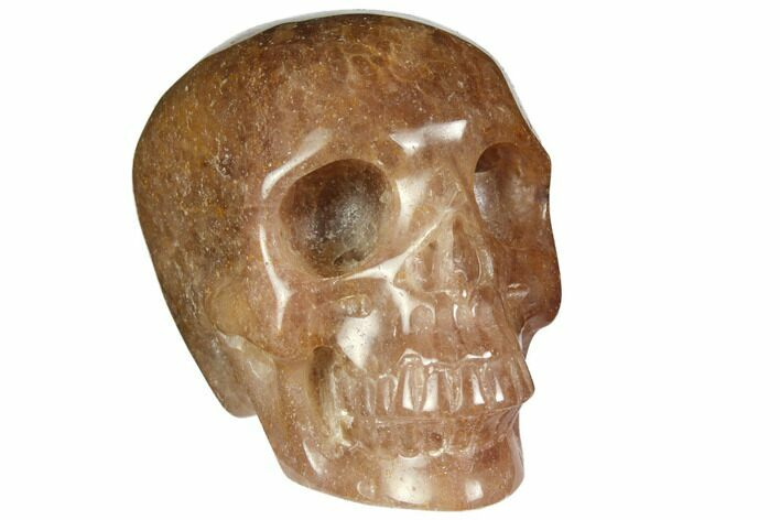 "3"" Realistic, Carved Strawberry Quartz Crystal Skull"