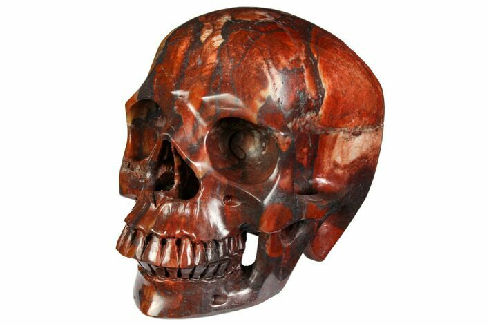 "5"" Realistic, Polished Red Picture Jasper Skull"
