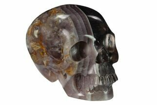 "3"" Realistic, Carved, Banded Purple Fluorite Skull For Sale, #151226"