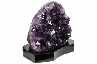 "5.9"" Tall Dark Purple Amethyst Cluster With Wood Base  - Uruguay For Sale, #153086"