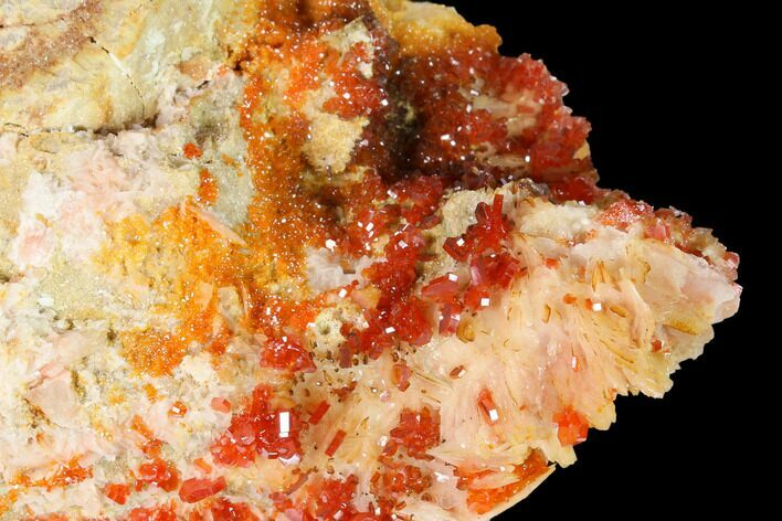 "2.8"" Sparkly Vanadinite Crystals on Pink Barite - Morocco"