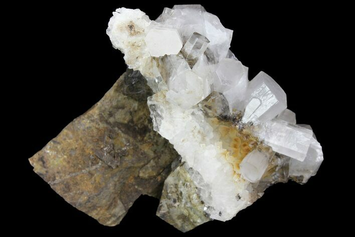 "2.5"" Columnar Calcite Crystal Cluster on Quartz - China"