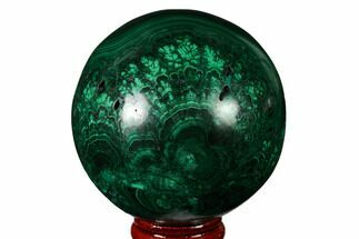 "2.6"" Flowery, Polished Malachite Sphere - Congo For Sale, #164492"