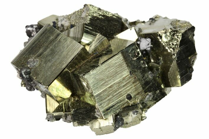 "2.1"" Cubic Pyrite Crystal Cluster with Sphalerite - Peru"