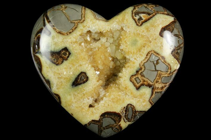 "7.5"" Polished Utah Septarian Heart - Beautiful Crystals"