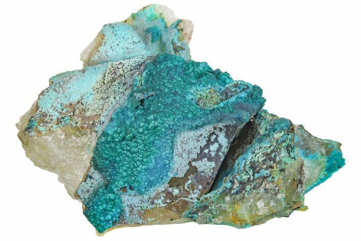 "2.4"" Chrysocolla on Quartz Crystal Cluster - Tentadora Mine, Peru"