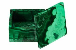 "2"" Polished Malachite Jewelry Box - Congo For Sale, #169868"