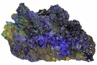 "Buy 5.4"" Sparkling Azurite Crystals with Malachite - Laos - #170026"