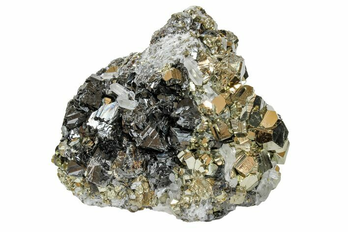 "2.4"" Pyrite Crystal Cluster with Quartz & Sphalerite - Peru"
